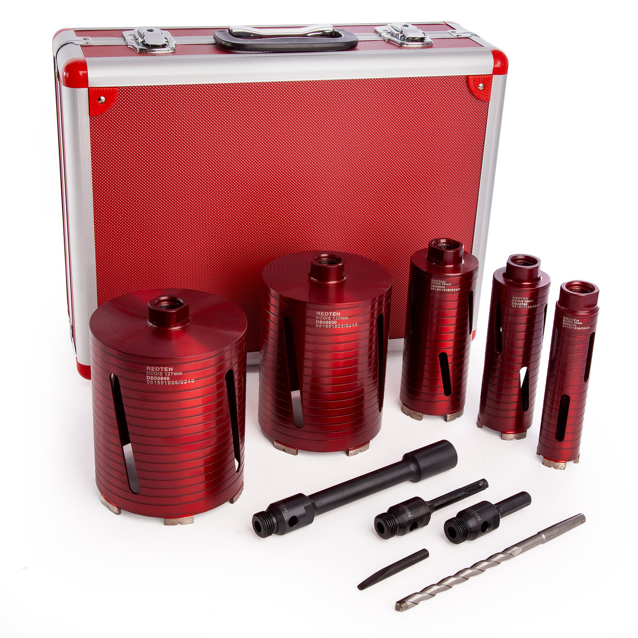 Red Ten Spiral 10 Piece Dry Diamond Core Drill Kit 38mm 52mm 65mm 117mm 127mm