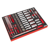 Buy Sealey TBTP01 Tool Tray With Socket Set 1/4 & 1/2in Square Drive (79 Piece) at Toolstop