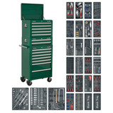 Buy Sealey SPTGCOMBO1 Tool Chest Combination 14 Drawer With Ball Bearing Runners - Green & 1179pc Tool Kit at Toolstop