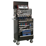 Buy Sealey APCOMBOBBTK58 Topchest & Rollcab Combination 15 Drawer With Ball Bearing Runners - Black With 147pc Tool Kit at Toolstop