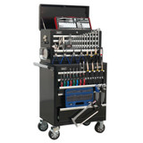 Buy Sealey APCOMBOBBTK56 Topchest & Rollcab Combination 10 Drawer With Ball Bearing Runners - Black With 147pc Tool Kit at Toolstop