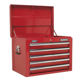 Buy Sealey AP26059T Topchest 5 Drawer With Ball Bearing Runners - Red at Toolstop