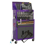 Buy Sealey AP2200COMBOCP Topchest & Rollcab Combination 6 Drawer With Ball Bearing Slides (128 Piece) - Purple/Grey at Toolstop