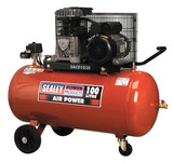 Buy Sealey SAC0102B Compressor 100ltr Belt Drive 2hp With Cast Cylinders & Wheels at Toolstop