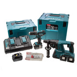 Makita DLX2069PMJ 18V Twin Pack - DHP456 Combi Drill + DHR263 Rotary Hammer (4 x 4.0Ah Batteries) with 2 x MakPac Cases - 5