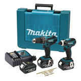 Buy Makita DLX2012X2 18V Twin Pack - DHP456 Combi Drill + DTD146 Impact Driver (3 x 3Ah Batteries) with Impact Gold Bits at Toolstop