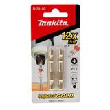 Buy Makita B-39182 Impact Gold Xtreme Torsion PZ2 Bits 50mm x 1/4 inch (Pack of 2) at Toolstop