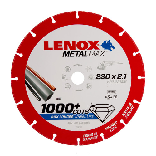 Lenox 2030870 MetalMax Diamond Cut Off Wheel 230mm x 2.1mm x 22.23mm - 2