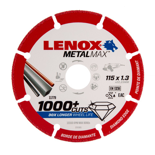 Lenox 2030865 MetalMax Diamond Cut Off Wheel 115mm x 1.3mm x 22.23mm