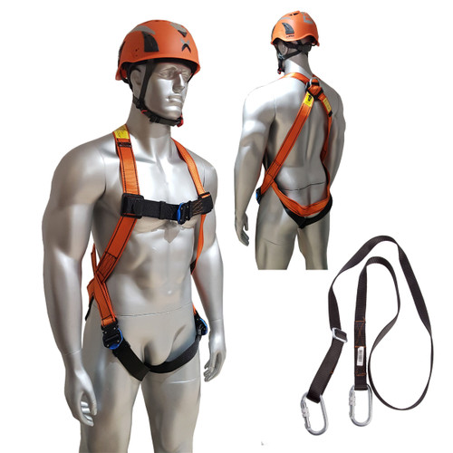 Aresta MEWP Kit 3 - Single Point Harness, Adjustable Webbing Lanyard, 2 x Carabiner and Kitbag - 2