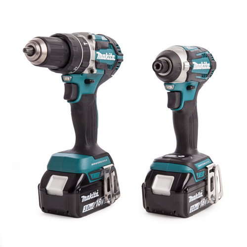 Makita DLX2181 Twinpack with DHP454 Combi drill, DTD154 Impact Driver, DC18RC Charger (2 x 3Ah Batteries) - 3
