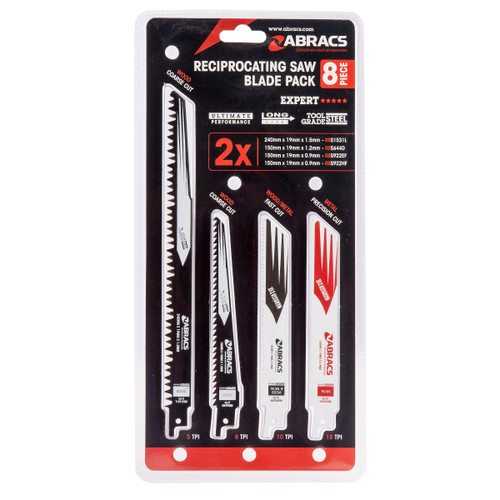 Buy Abracs RBSMIX8 Recip Saw Blades for Wood & Metal (Pack of 8) at Toolstop