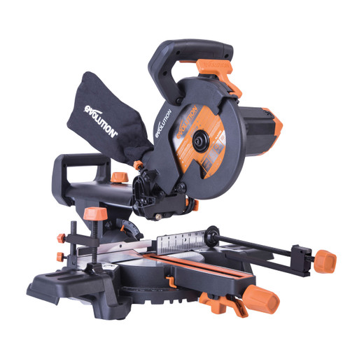 Evolution R210SMS+ 210mm Single-Bevel Sliding Compound Mitre Saw 240V - 12