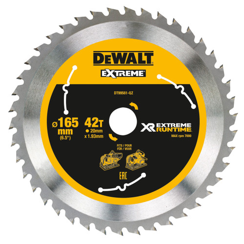Buy Dewalt DT99561 XR Extreme Runtime Mitre Saw Blade 165mm x 20mm x 42T at Toolstop