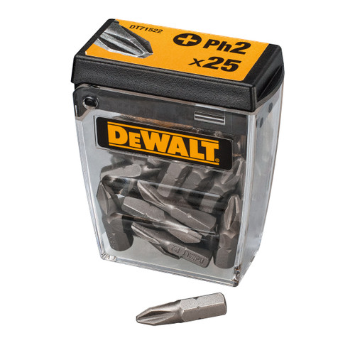 Buy Dewalt DT71522-QZ PH2 Screwdriving Bits In Tic Tac Box 25mm (Pack of 25) at Toolstop