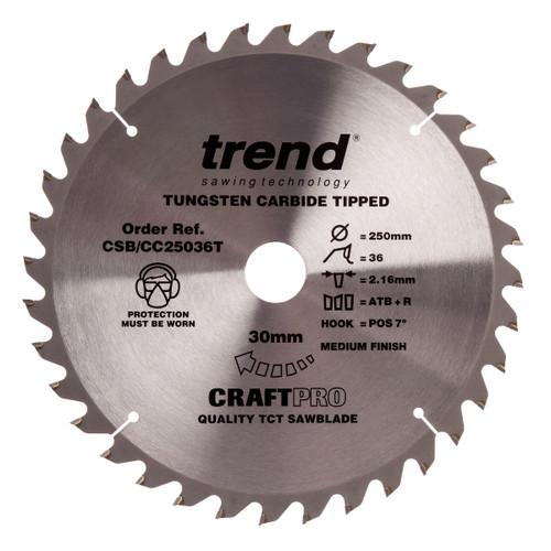 Trend CSB/CC25036T CraftPro Saw Blade Crosscut 250mm x 30mm x 36T - 2