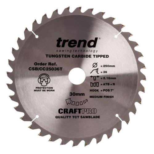 Trend CSB/CC25036T CraftPro Saw Blade Crosscut 250mm x 30mm x 36T
