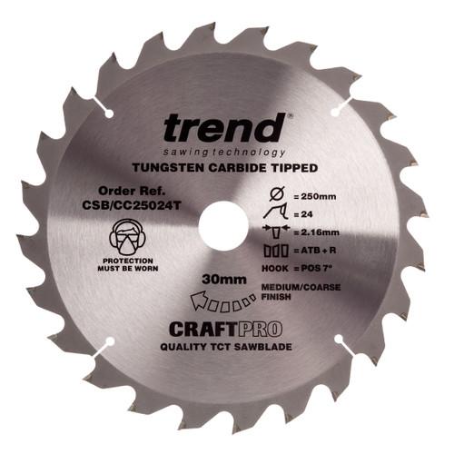 Trend CSB/CC25024T CraftPro Saw Blade Crosscut 250mm x 30mm x 24T - 2