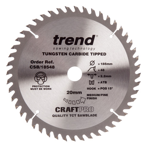 Trend CSB/18548 CraftPro Saw Blade Trimming / Crosscut 185mm x 48T - 3