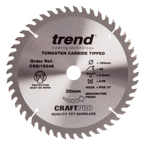 Trend CSB/18548 CraftPro Saw Blade Trimming / Crosscut 185mm x 48T - 3