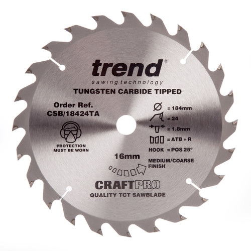 Trend CSB/18424TA CraftPro Saw Blade General Purpose 184mm x 24T - 3