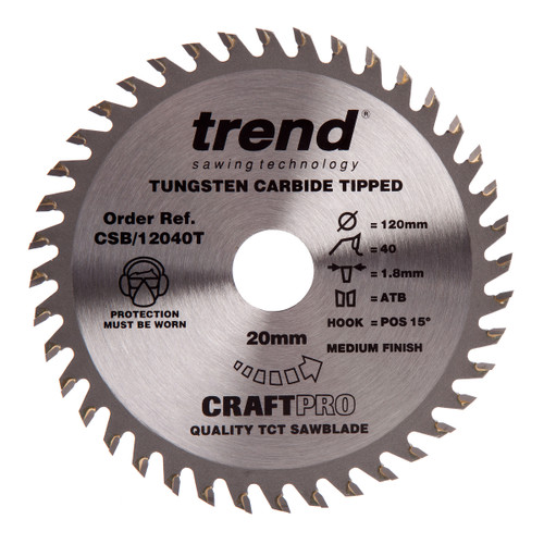 Trend CSB/12040T CraftPro Saw Blade Combination 120mm x 40T - 3