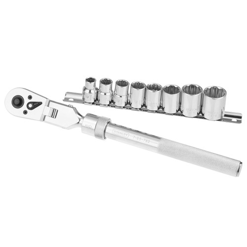 Stanley 0-94-609 3/8in Drive Socket Rack (8 Sockets + Extendable Ratchet) - 1
