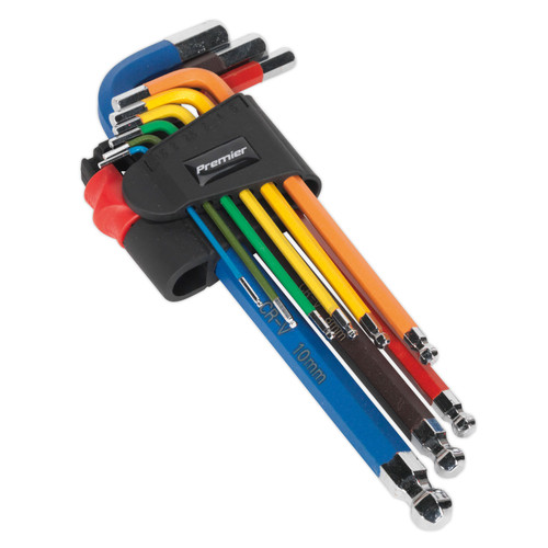 Buy Sealey AK7190 Long Metric Colour Coded Ball-End Hex Key Set (9 Piece) at Toolstop