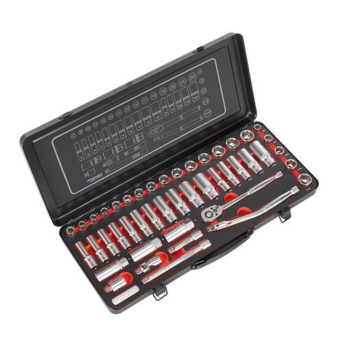 Buy Sealey AK692P DuoMetric Platinum Series Socket Set 3/8in Square Drive 6pt Walldrive (45 Piece) at Toolstop