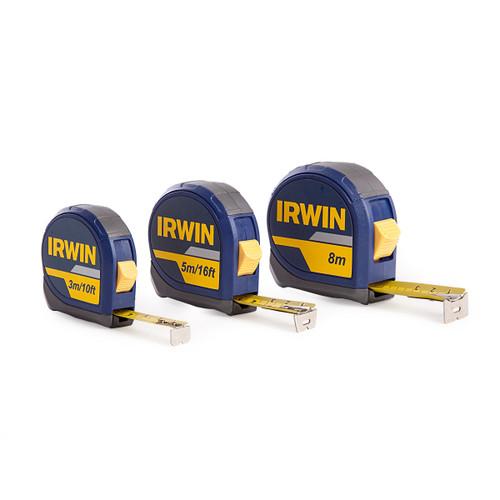 Buy Irwin 1874808 3 Pack of Measuring Tapes (3m, 5m, 8m) at Toolstop