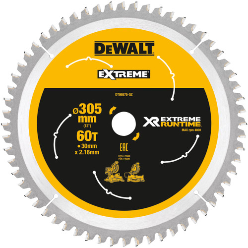 Buy Dewalt DT99575 XR Extreme Runtime Mitre Saw Blade 305mm x 30mm x 60T at Toolstop