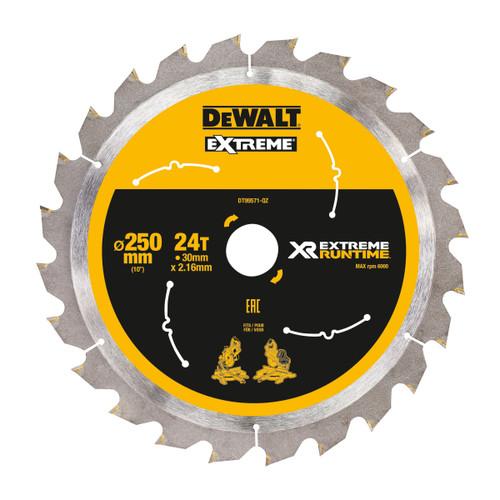 Dewalt DT99571-QZ XR Extreme Runtime Mitre Saw Blade 250mm x 30mm x 24T - 2