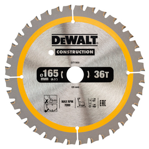 Dewalt DT1950 Construction Circular Saw Blade 165mm x 20mm x 36T - 2
