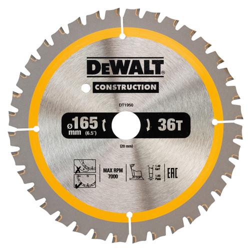 Dewalt DT1950 Construction Circular Saw Blade 165mm x 20mm x 36T - 2