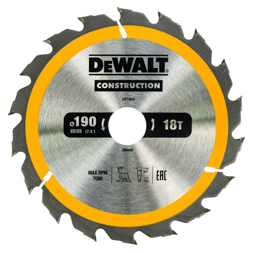 Dewalt DT1943 Construction Circular Saw Blade 190mm x 30mm x 18T - 2