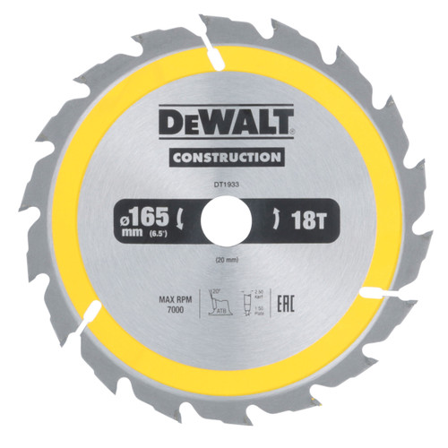 Dewalt DT1933 Construction Circular Saw Blade 165mm x 20mm x 18T - 2