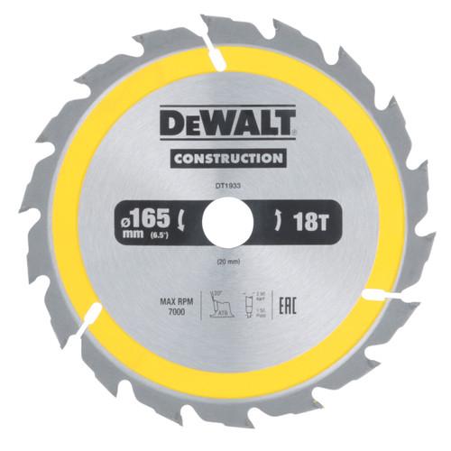 Dewalt DT1933 Construction Circular Saw Blade 165mm x 20mm x 18T - 2