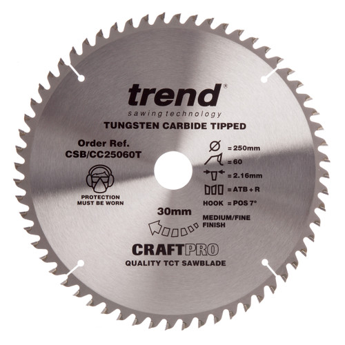 Trend CSB/CC25060T CraftPro Saw Blade for Aluminium & Plastic 250mm x 30mm x 60T - 2