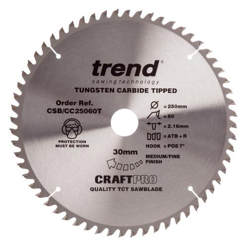 Trend CSB/CC25060T CraftPro Saw Blade for Aluminium & Plastic 250mm x 30mm x 60T - 2