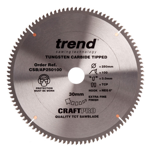 Trend CSB/AP250100 CraftPro Saw Blade for Aluminium & Plastic 250mm x 30mm x 100T - 2