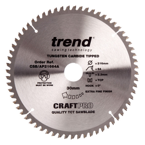 Trend Sawblade CSB/AP21664A CraftPro Saw Blade for Aluminium & Plastic 216mm x 30mm x 64T - 2