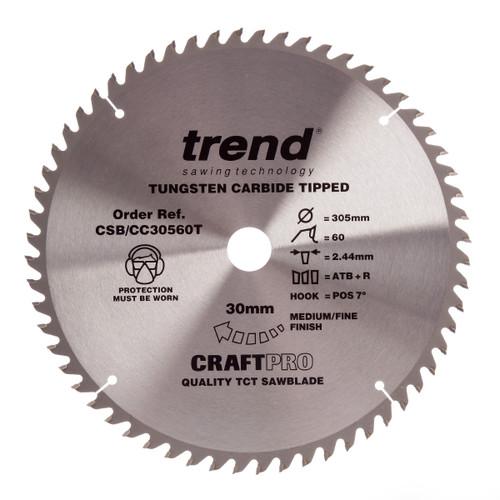 Trend CSB/CC30560T CraftPro Saw Blade Crosscut 305mm x 30mm x 60T