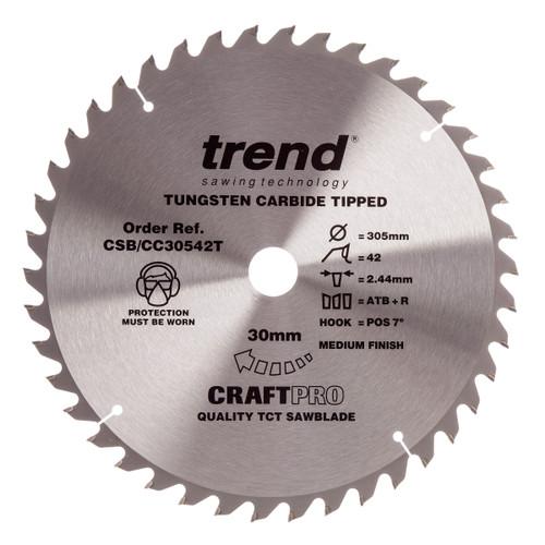 Trend CSB/CC30542T CraftPro Saw Blade Crosscut 305mm x 30mm x 42T - 2