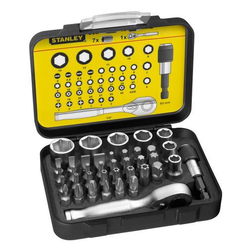 Buy Stanley 1-13-906 Bit & Socket Set + Ratchet (39 Piece) at Toolstop