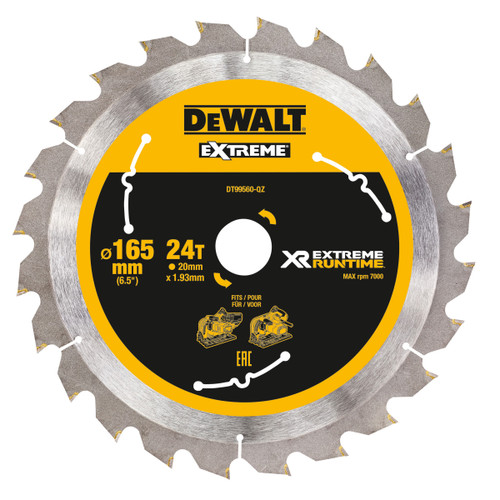 Dewalt DT99560 XR Extreme Runtime Mitre Saw Blade 165mm x 20mm x 24T - 1