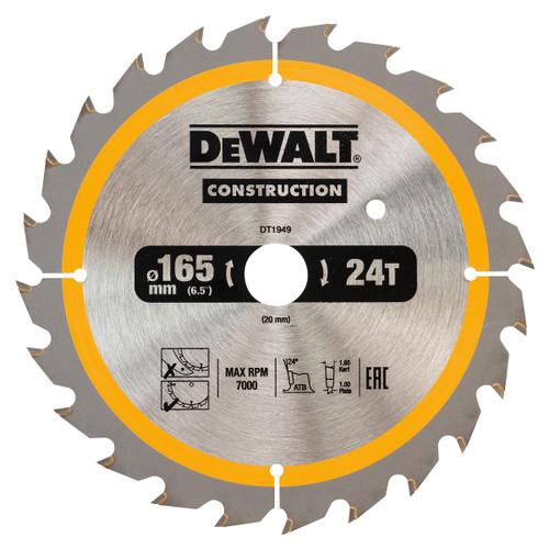 Dewalt DT1949 Construction Circular Saw Blade 165mm x 20mm x 24T - 2