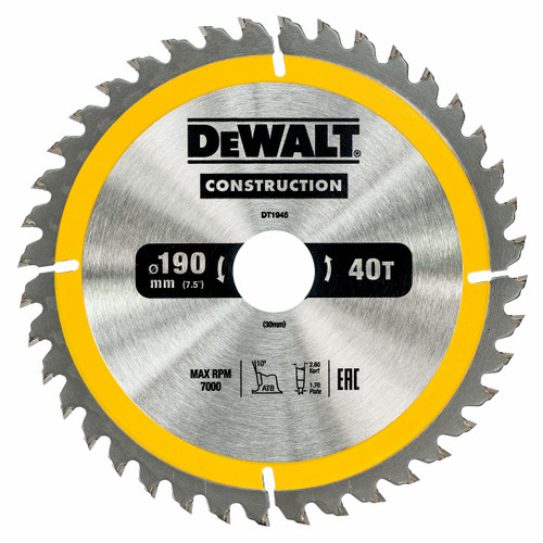 Dewalt DT1945 Construction Circular Saw Blade 190mm x 30mm x 40T - 2