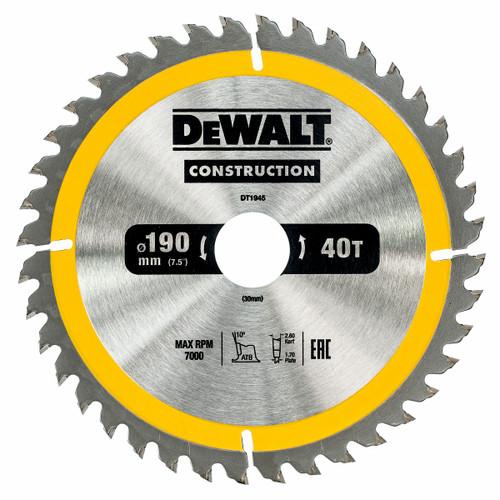 Dewalt DT1945 Construction Circular Saw Blade 190mm x 30mm x 40T - 2