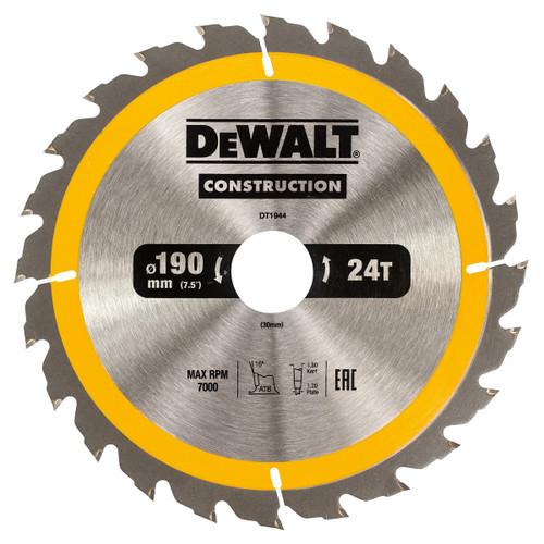 Dewalt DT1944 Construction Circular Saw Blade 190mm x 30mm x 24T - 2