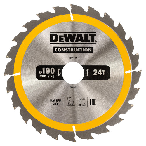 Dewalt DT1944 Construction Circular Saw Blade 190mm x 30mm x 24T - 2